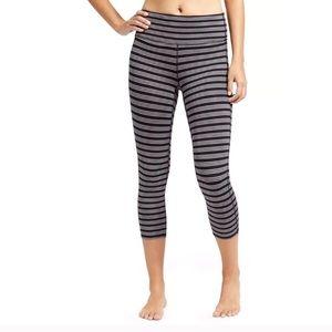 Athleta Chaturanga Black and Gray Striped Leggings